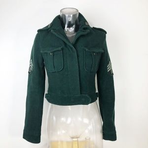 Urban Outfitters Green Military Crop Jacket Coat S